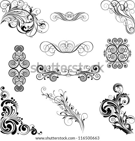 Set of different style ornaments - stock vector