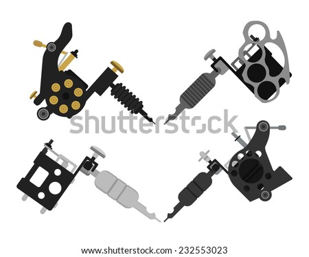 Set of 4 different style realistic tattoo machines icons. Revolver tattoo machine, knuckle duster tattoo gun. Color no outline illustration isolated on white - stock vector
