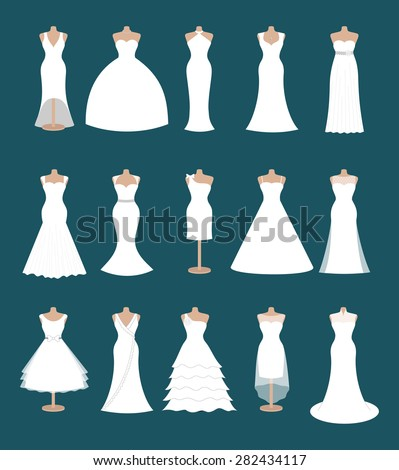 Set of different styles wedding dresses. Fashion bride dress, modern style design. Collection of white dress silhouette. Bridal shower composition, vector art image illustration isolated on background - stock vector