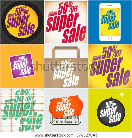 Set of different super sale banners. Sale background. Big sale. Sale tag. Sale poster. Sale vector. Super Sale and special offer. 50% off. - stock vector