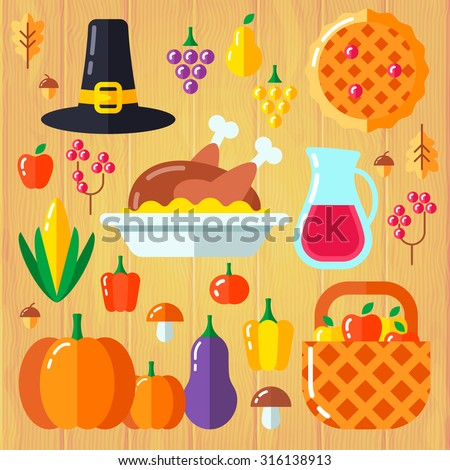Set of different symbol elements for thanksgiving day, bright and tasty vegetables, fruits and other accessories. Fully editable vector illustration. Perfect for cards, posters and other prints. - stock vector