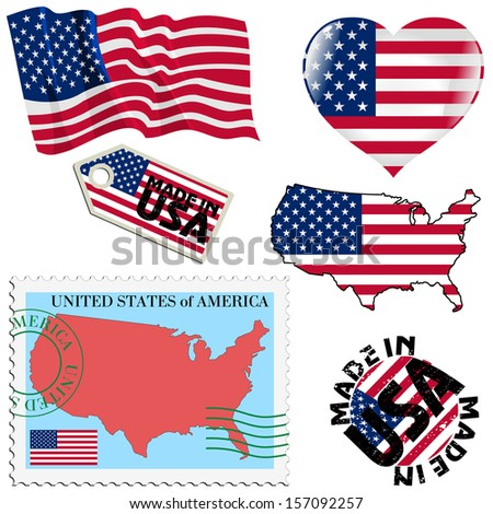 set of different symbols in national colours of United States - stock vector