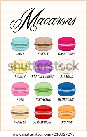 Set of different taste macaroons, collection of variation colorful french macaron - brown, blue, red, green, pink.. cartoon graphic design, vector art image illustration, isolated on whtie background - stock vector