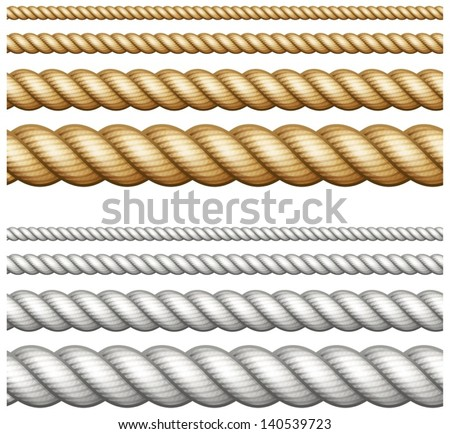 Set of different thickness ropes isolated on white, vector illustration. - stock vector