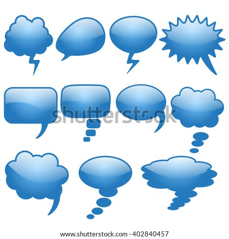 Set of different thought cloud eleven blue objects on a white background for infographics - stock vector