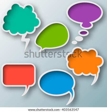 Set of different thought cloud six colorful objects on a gray-blue background for infographics - stock vector