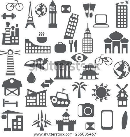 Set of different travel icons in the flat style  - stock vector
