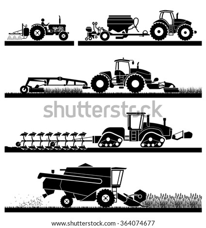 Set of different types of agricultural vehicles and machines, harvesters, combines and excavators. Icon set of working machines.  - stock vector