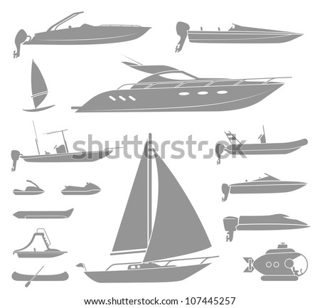 Set of different  types of boat and submarine - stock vector