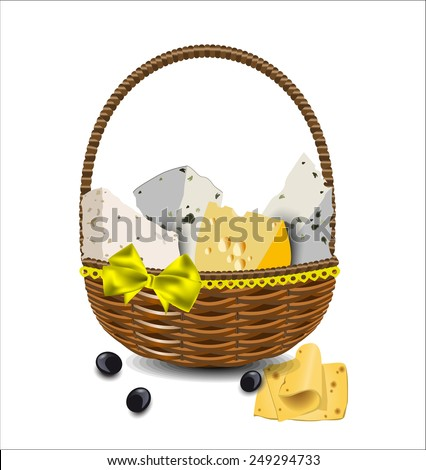 Set of different types of cheese in a wicker basket. Vector illustration. - stock vector