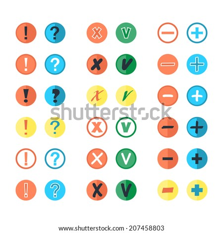 Set of different vector check marks question exclamation icon plus minus button pictogram conceptual of voting acceptance or rejection positive negative yes no add remove or menu panel in flat style - stock vector