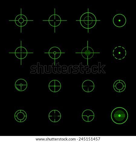 Set of  different vector crosshairs. - stock vector