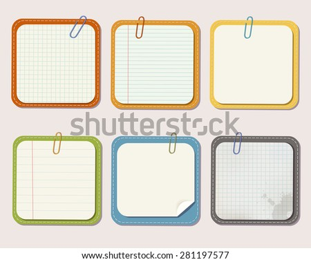 Set of different vector note papers on color background with paper clips. - stock vector