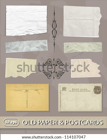 Set of Different Vintage, old paper & postcards - stock vector