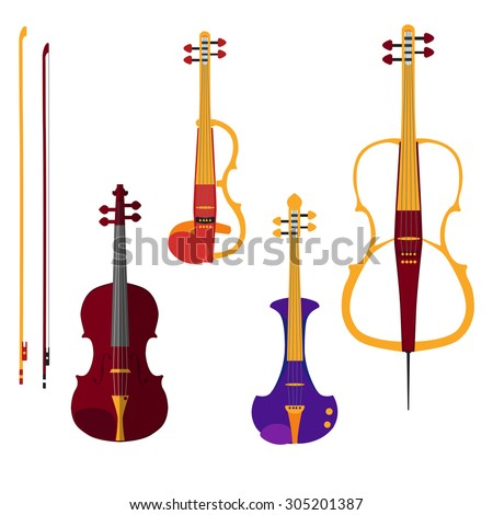 Set of different violins. Classical violin, electric violin and cello with bows. Isolated musical instruments on white background. Vector illustration in flat style design.  - stock vector
