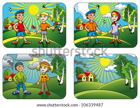 Set of different weather conditions: hot, warmly, cool and windy, vector illustration - stock vector