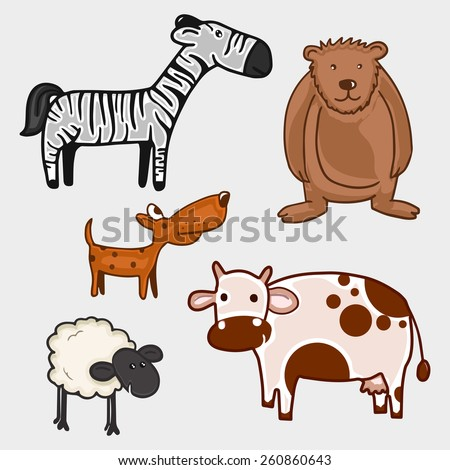 Set of different wild and domestic animal characters on grey background. - stock vector