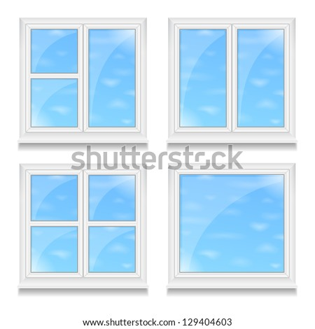 Set of different windows with blue sky, vector eps10 illustration - stock vector