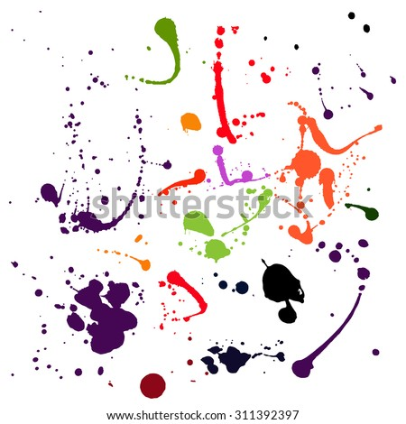 Set of difrent colours blots and ink splashes Each blot is grouped separately, there are 17 different splashes.  - stock vector