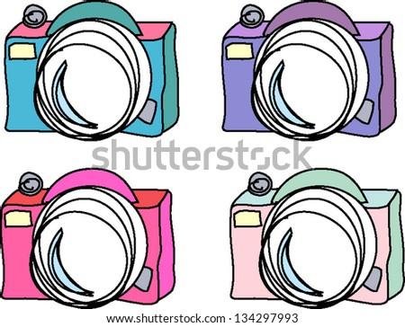 Set of 4 digital Camera - stock vector