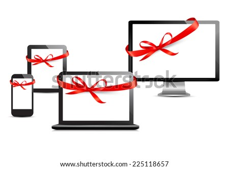 Set of digital devices with gift ribbons and bow. Vector  - stock vector