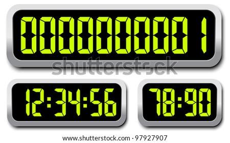 Set of digital numbers - stock vector