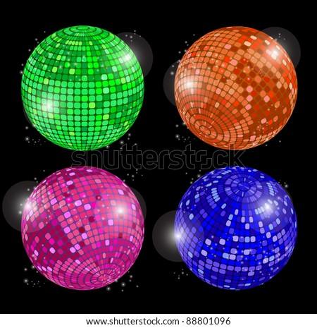 Set of disco balls - stock vector
