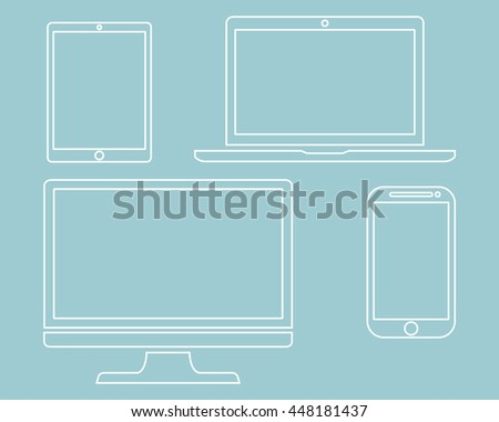 Set of display, laptop, tablet and mobile phones electronic device outline icons template isolated on green background, vector illustration - stock vector