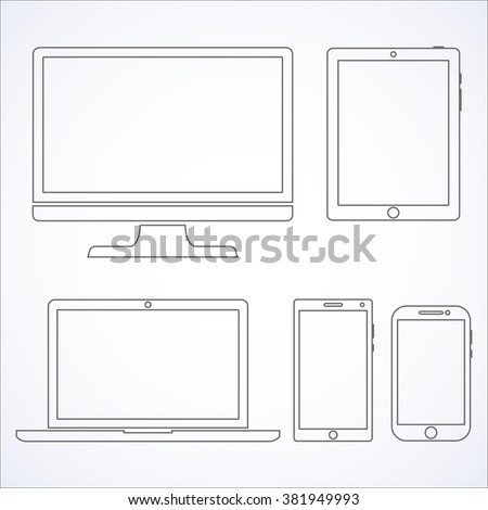 Set of display, laptop, tablet and mobile phones electronic device outline icons template.  Vector illustration - stock vector