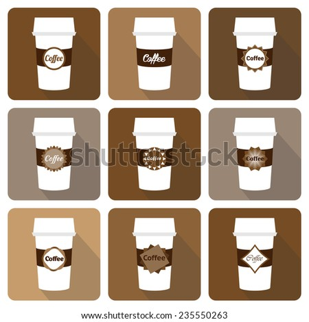 Set of disposable coffee cup icon with coffee  logo. Vector illustration flat design with long shadow. - stock vector
