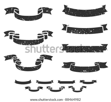 Set of distressed grunge scroll banners, includes non-grunge shapes - stock vector