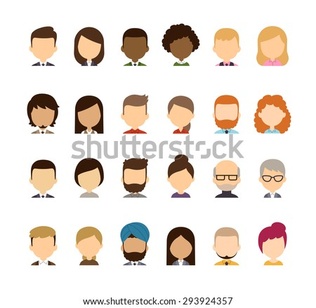 Set of diverse avatars without facial features. Different skin tones, clothes and hair styles. Cute and simple flat cartoon style. - stock vector