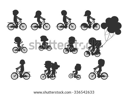 Set of diverse bicyclists silhouettes, Happy family riding bikes , Family Biking Together, Sports family. family and bikes, bicyclists silhouettes collection, vector illustration - stock vector