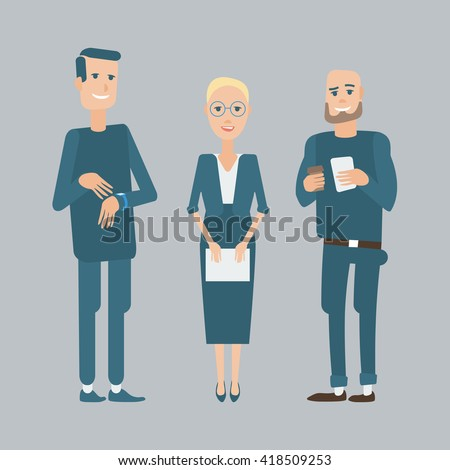 Set of diverse business people . - stock vector