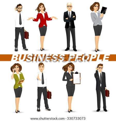 set of diverse business people isolated on white background - stock vector