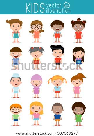 Set of diverse kids isolated on white background. . Different nationalities and dress styles. European children, America's Children, Asian children,African children, happy children,Vector Illustration - stock vector