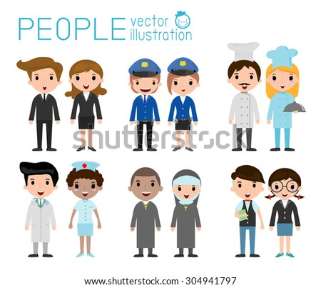 Set of diverse occupation people isolated on white background. Set of full body diverse occupation people. Different nationalities and dress styles. people character cartoon concept.flat modern design - stock vector