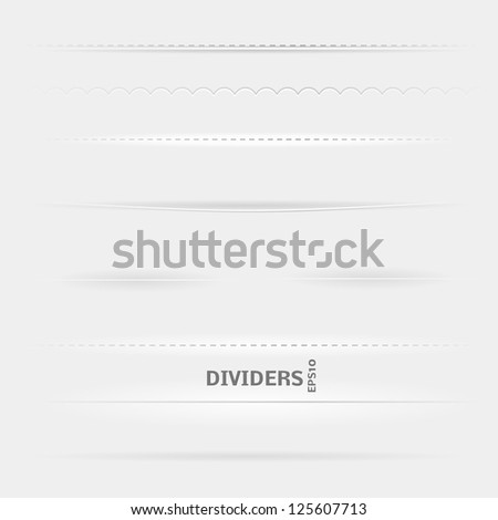 Set of Dividers. Design elements with different shadows. - stock vector