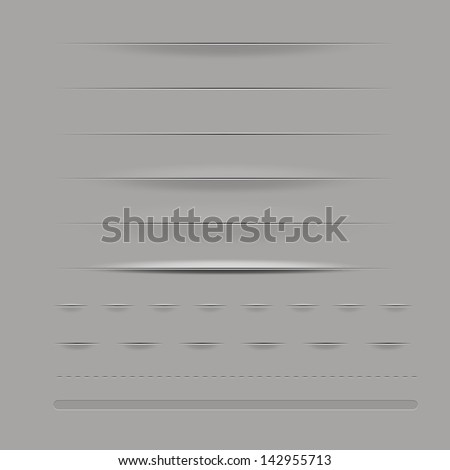 Set Of Dividers, Isolated On Grey Background, Vector Illustration - stock vector