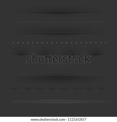 Set Of Dividers On Dark, Vector Illustration - stock vector