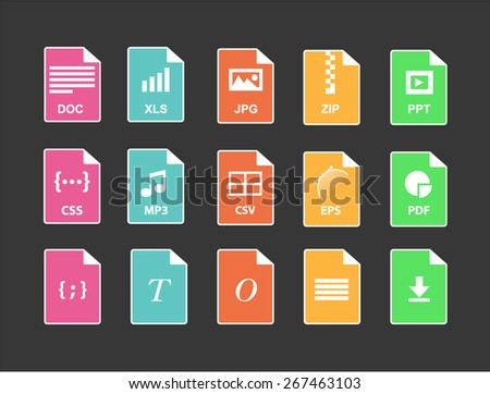 Set of Document File Formats in flat style - stock vector