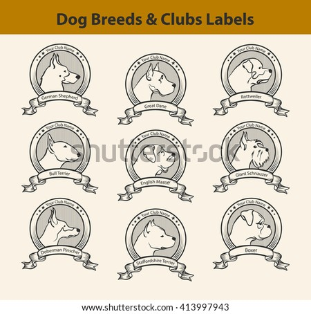 Set of Dog Breeds Labels, Dog Clubs Emblems. Profile Silhouette Dog Faces  - stock vector