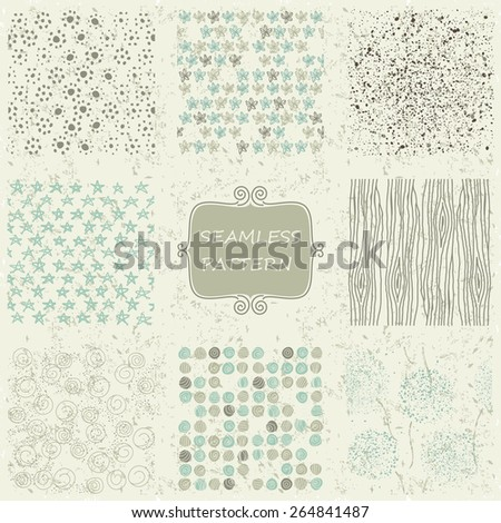 set of 8 doodle abstract seamless patterns  on shabby background - stock vector