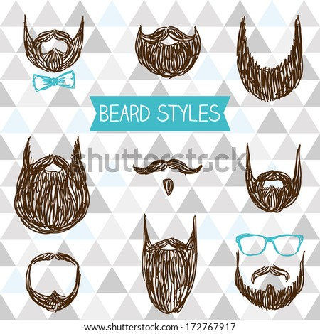 Set of doodle beard style - stock vector