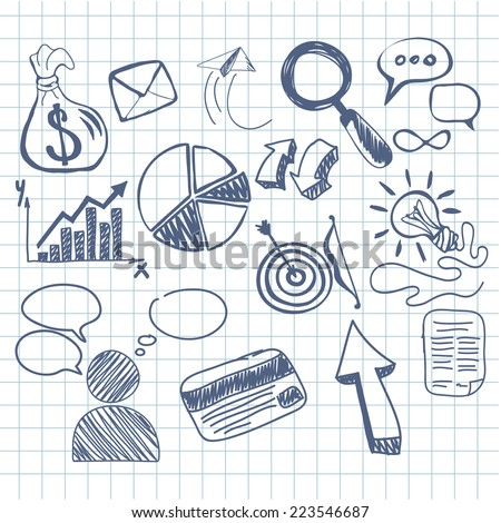 Set of doodle business management infographics elements icons on background in the box. Sketch collection of man bubble graph letter badge magnifying glass lightbulb chart arrow bow card - stock vector