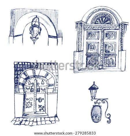 Set of doodle doors and old street lamps , vector EPS 8. Sketch illustration.  - stock vector