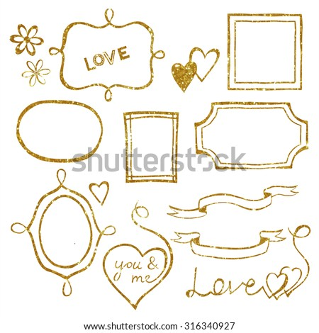 Set of doodle frames and elements made of gold glitter texture. Vector illustration. - stock vector