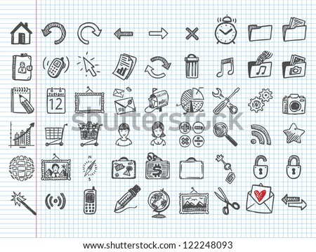set of 54 doodle icons - stock vector
