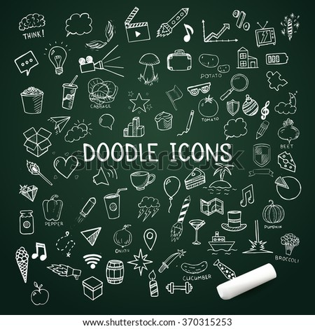 Set of doodle icons, vector hand-drawn objects, illustration on chalkboard - stock vector