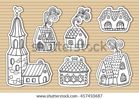 Set of doodle outline hand drawn cardboard buildings. Rustic old european fairy tail houses with chimneys and a stone bell tower. Editable vector illustration. - stock vector